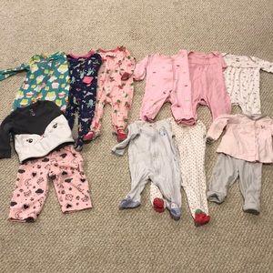Girls Carter's pajamas 6&12 month lot